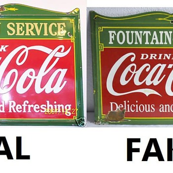 Fake coca cola porcelain sign