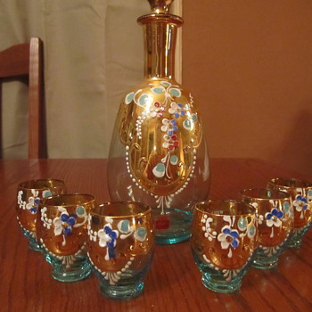 Italian Gold Gilt Decanter & (6)Glasses Oro Brillante Sticker...Turquoise Glass - Art Glass