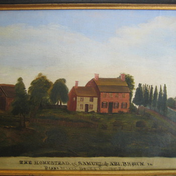 Primitive Brown Homestead Painting Ca. 1775 Bucks County PA - Folk Art