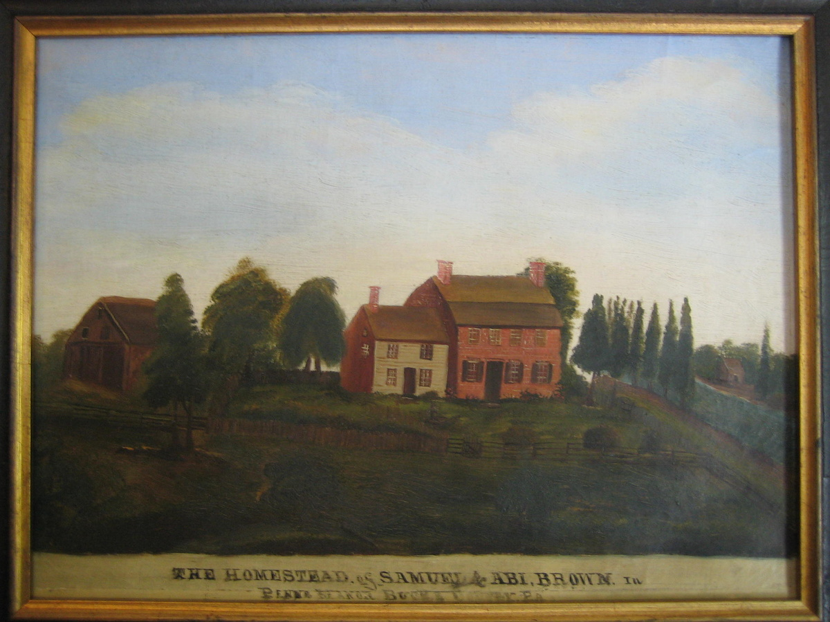 Primitive brown homestead painting ca 1775 bucks county for Craft shows in bucks county pa