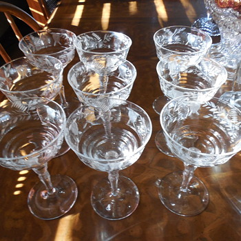 Libbey Rock Sharpe  Champagne Glasses set of 9 - Glassware
