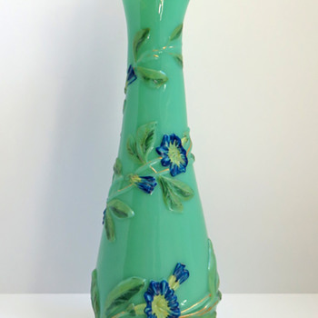 Baccarat Molded Opaline Morning Glories Vase  - Art Glass