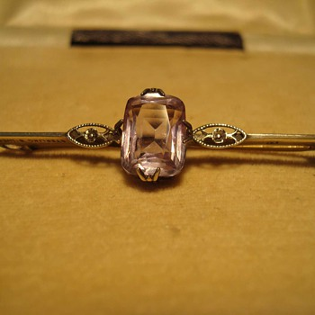Lovely Art Deco Amethyst Bar Pin in Sterling Early Ward Brothers