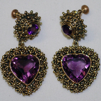 Amethyst 14K gold earrings - Fine Jewelry