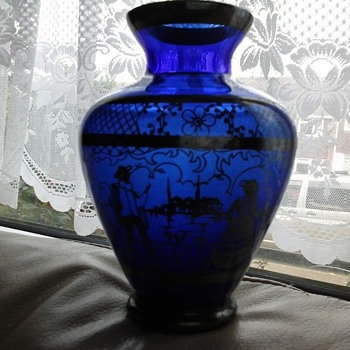blue glass vase - Art Glass