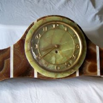 Gargantuan Brown and White Oynx  tambour Clock, 1930's