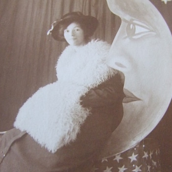 "Photograph of Woman sitting on the ""Man in the Moon"""