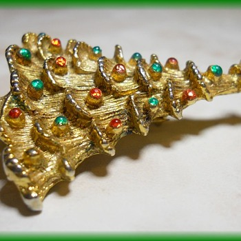 Christmas Tree Brooch = 1980's or so