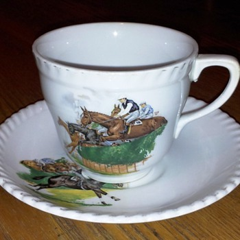 Teacup & Saucer~Steeplechase horse racing~By Johnson Bros in Australia - China and Dinnerware