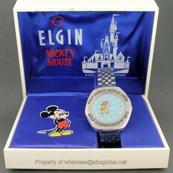 1972 Disney Mickey Mouse Golf Championship Elgin Swissonic Wrist Watch