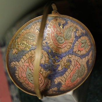 Unusual Cloisonne on Brass Dish - India? - Asian
