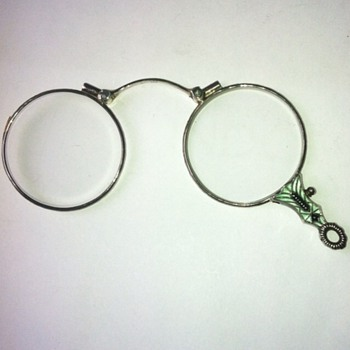 Art deco 935 silver enamel lorgnette.