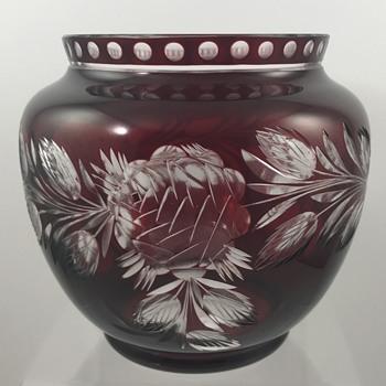 Loetz Cut Glass Part 1: Crystal aussen Rubin, PN II-8655, Blumenschliff 333, ca. 1925 - Art Glass