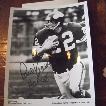 Paul Krause autographed 8x10 - Football