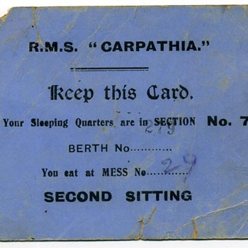 "R.M.S. ""Carpathia"" Soldiers Ticket - Paper"