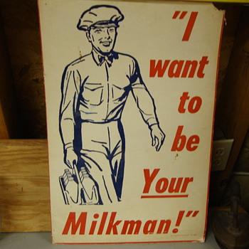 Vintage cardboard poster regarding milk......