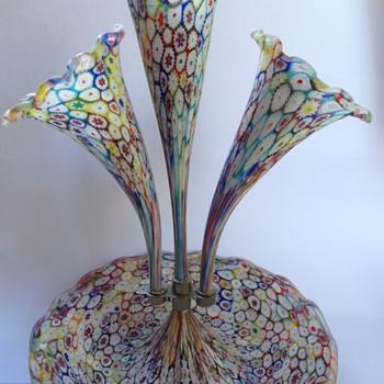 Venetian millefiori satin glass three trumpet epergne - Art Glass