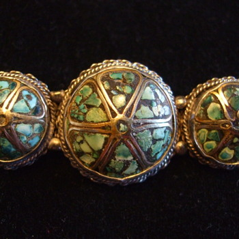 "Turquoise ""Wagon Wheels"" Brooch- N. American or...."