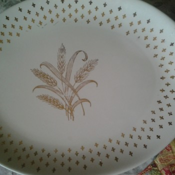 gold wheat platter - Glassware
