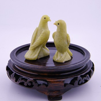 Vintage Chinese Carved Jade Birds Pair