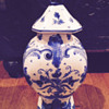 Blue Delft Gouda Urn  with Foo Dog Top  -  Plateelbakkerij 'Zuid Holland' (PZH)?