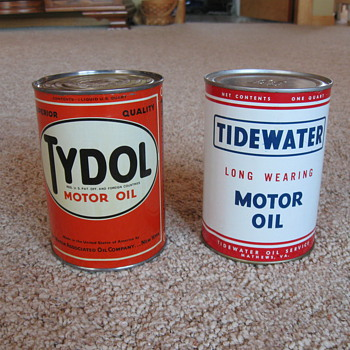 Tide Water Oil Cans 1940