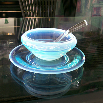 Fostoria Seascape Opalescent Condiment Bowl w/ Underplate &amp; Ladle 1954-58&#039;
