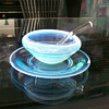 Fostoria Seascape Opalescent Condiment Bowl w/ Underplate & Ladle 1954-58'