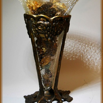 Crackle Glass Vase with Metal Mounts - Glassware