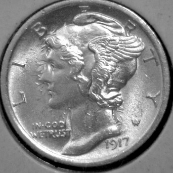 Obverse of Die Clashed 1917-P Winged Liberty Dime