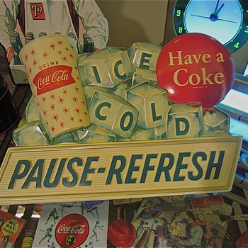 1960s PAUSE-REFRESH Coca Cola vacuform &quot;ICE COLD&quot; sign - Coca-Cola