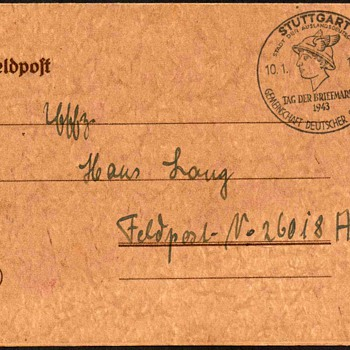 "1943 - German ""Stamp Day"" Postmarked Postal Card"