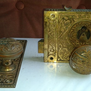Brass Door Rim Lock Box Unknown Origin - Tools and Hardware