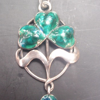 Arts & Crafts Enamel Clover Pendant
