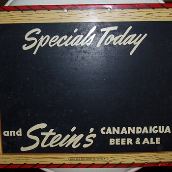 Stein's Canandaigua Beer and Ale Chalkboard Menu Sign - Signs
