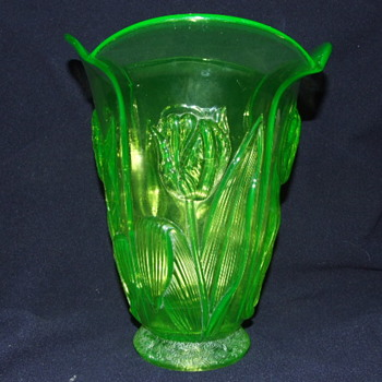 Unusual Uranium Glass Barolac Tulip Vase