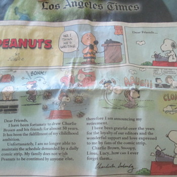 "Final ""Snoopy"" comic strip in L.A. Times 02/13/2000 - Advertising"