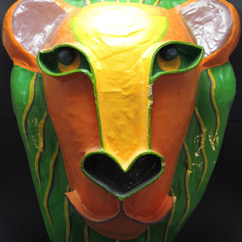 Papier-mch Lion Mask - Signed GINA TUREX - Animals