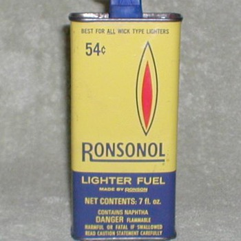 Ronsonol Lighter Fluid Tin - Advertising