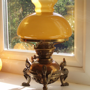 Griffin Brass Oil Lamp