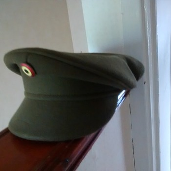 Military Green Officer's peaked cap, with a badge, marked inside A B L Seymour 1965 Kortruk T&H 23923, 55  - Military and Wartime
