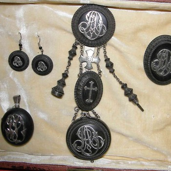 1880's Vulcanite chatelaines  for twins or sisters - Fine Jewelry
