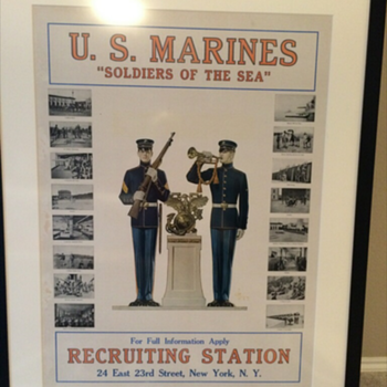 Huge Framed Marine Poster From New York Recruiting Station - Military and Wartime