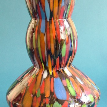 Amethyst and Multi-Coloured Art Glass Vase - Art Glass