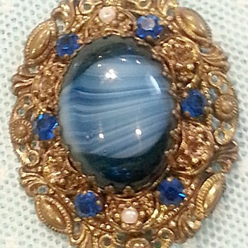 Moonstone Brooch Made In Germany - Costume Jewelry