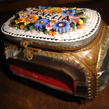 Antique VENEZIA MICRO MOSAIC Venice Italian Frame Glass Grand Tour Jewelry Box - Fine Jewelry