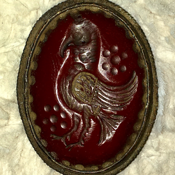 Glass or garnet intaglio pendant