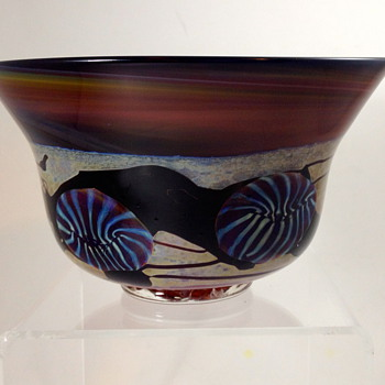 Studio Art Glass Bowl, 1997, unknown maker initials HS? - Art Glass