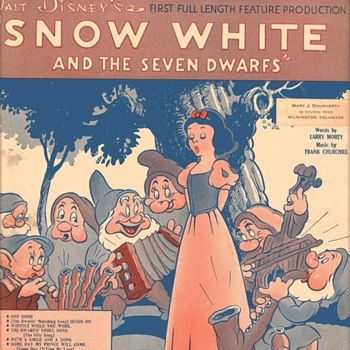 "Sheet Music - ""Heigh-Ho"" from ""Snow White and the Seven Dwarfs"" 1938 - Music"