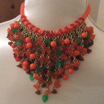 Mid Century lucite bib Necklace  - Costume Jewelry